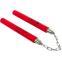 Нунчаку тренировочные соедененные цепью BO-3247 (пластик, неопрен, красный) 0