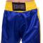 Штаны для кикбоксинга детские MATSA KICKBOXING MA-6736 (полиэстер, 6-14лет, рост 122-152см, синий-желтая полоса со звездами) 1