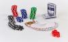 Набор для покера в алюминиевом кейсе IG-4392-100 на 100 фишек без номинала (2кол.карт, 5куб) 0