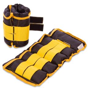 Утяжелители-манжеты для рук и ног наборной вес 5кг UR TA-5387-5 (2 x 2,5кг) (верх-PL, наполн.-песок, желтый)