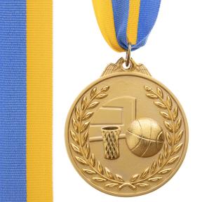Медаль спортивная с лентой двухцветная d-6,5см Баскетбол C-4849 (металл, покрытие 2тона,56g золото, серебро, бронза)