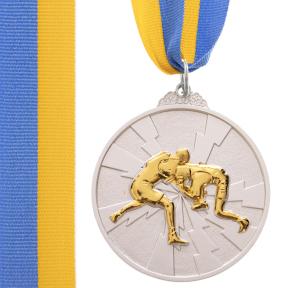 Медаль спортивная с лентой двухцветная SP-Sport Борьба C-4852 золото, серебро, бронза