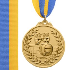 Медаль спортивная с лентой двухцветная SP-Sport Волейбол C-4850 золото, серебро, бронза