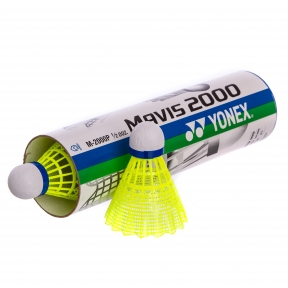 Воланы для бадминтона нейлоновые (6шт) YONEX-2000P M-2000P (в тубе, цвета в ассортименте)