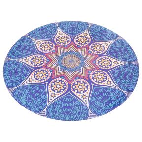 Коврик для йоги круглый замшевый каучуковый с принтом Record FI-6218-2 диаметр-1,5м 3мм синий-белый