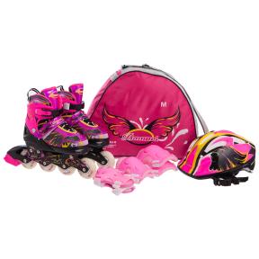 Роликовые коньки раздвижные в наборе защита, шлем, сумка JINGFENG SK-180 (колесо-PU, р-р 31-38, цвета в ассортименте)