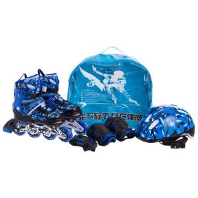 Роликовые коньки раздвижные в наборе защита, шлем, сумка JINGFENG SK-170 (31-42) (PL, PVC, колесо PU светящ., алюм., цвета в ассортименте)