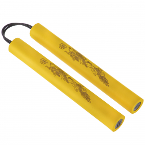 Нунчаку тренировочные соедененные шнуром ВО-5948 (пластик, неопрен, полиэстер, черный, желтый, красный, синий)