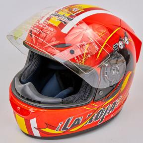 Мотошлем интеграл (full face) со съемным утеплителем Tanked Racing T112-4 ESPANA (ABS, размер XL-2XL-61-64, красный-желтый-белый)