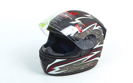 Мотошлем интеграл (full face) со съемным утеплителем Tanked Racing T112-5 (ABS, размер L-XL-58-62, черный-серый-красный)