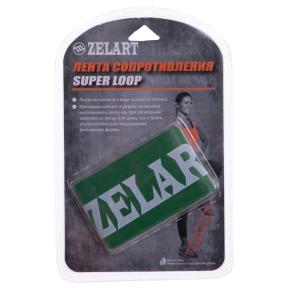 Лента сопротивления LOOP BANDS Zelart FI-8228-4 (латекс, размер 500x50,8x0,9мм, жесткость М, зеленый)