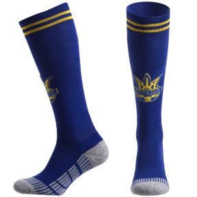 Гетры футбольные клубные SPOINT UKRAINE ETM1721 размер 27-34 синий-желтый