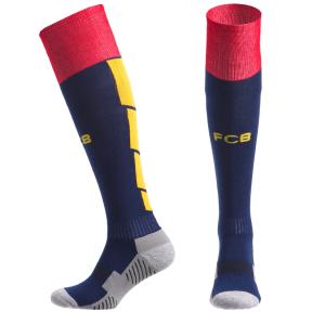 Гетры футбольные с символикой футбольного клуба BARCELONA HOME CO-5079-BAR-B (размер 32-43, темно-синий-желтый)