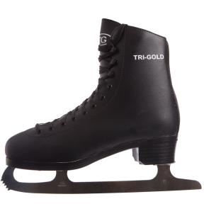 Коньки фигурные черные PVC TG-FO333B (р-р 42-45, лезвие-сталь, черный)