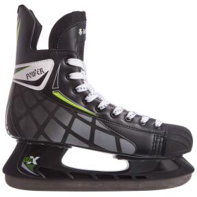 Коньки хоккейные PVC Z-2061 (р-р 39-45, лезвие-сталь, черный-белый-салатовый)