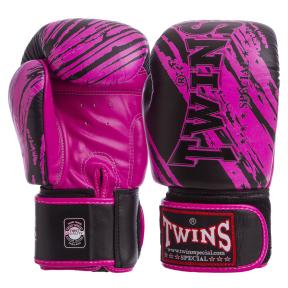 Перчатки боксерские кожаные TWINS FBGV-TW2PK 10-12 унций черный-розовый