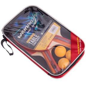 Набор для настольного тенниса 2 ракетки, 3 мяча с чехлом WEINIXUN MT-2113 (древесина, резина, пластик)