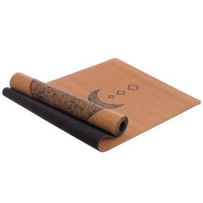 Коврик для йоги Пробковый каучуковый двухслойный 4мм Record FI-7156-9 (размер 1,83мx0,61мx4мм, пробковое дерево, каучук, с принтом Лунный Цикл)