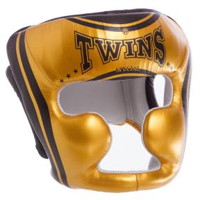 Шлем боксерский с полной защитой кожаный TWINS FHG-TW4GD-BK S-XL золотой-черный
