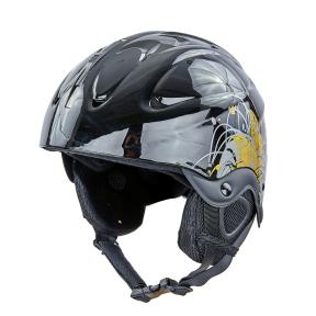 Шлем горнолыжный с механизмом регулировки MOON MS-2947-S (ABS, p-p S-53-55, черный-золотой)