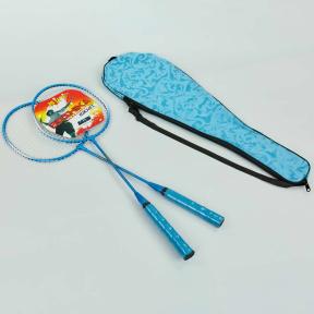 Набор для бадминтона 2 ракетки в чехле BOSHIKA 668 (сталь, голубой, красный, салатовый)
