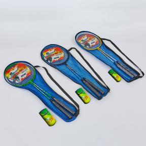 Набор для бадминтона 2 ракетки и 1 волан в чехле BOSHIKA 502 (сталь, цвета в ассортименте)