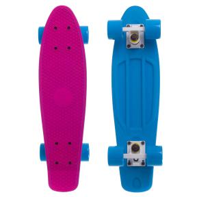 Скейтборд пластиковый Penny RUBBER SOFT TWIN FISH 22in двухцветная дека SK-410-2 (розовый-голубой)