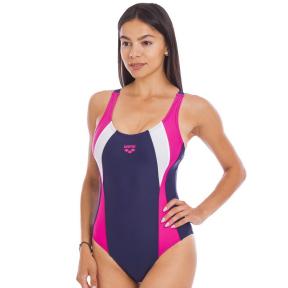 Купальник женский спортивный ARENA SCRIBBLE B V NECK AR-2A768-79 (размер 30-40-USA, темно-синий-розовый)