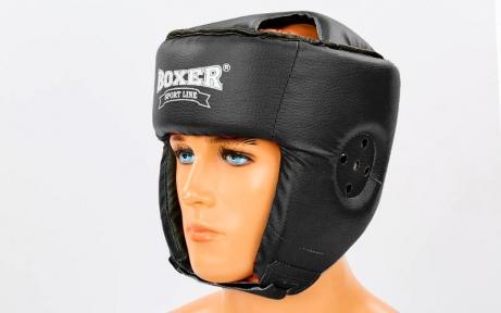 Шлем боксерский открытый с усиленной защитой макушки Кожвинил BOXER 2030-4 (р-р M-XL, черный)