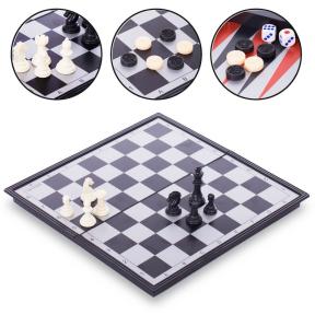Шахматы, шашки, нарды 3 в 1 дорожные пластиковые магнитные IG-9818 (р-р доски 33см x 33см)