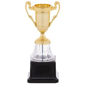 Кубок спортивный с ручками h-19см YK013 (пластик, металл, h-19см, b-8,5см, d чаши-4,5см, золото)
