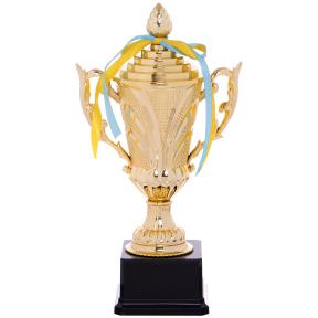 Кубок спортивный с ручками и крышкой OMEGA C-679A (пластик, h-30см, b-16см, d чаши-9см, золото)