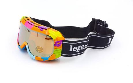 Очки горнолыжные детские LEGEND LG7004 (акрил,пластик,PL,двойные линзы,антифог,цвет линз-оранж,опр.цветная)