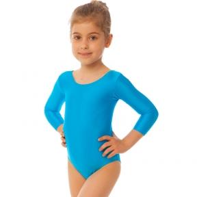 Купальник гимнастический с длинным рукавом Lingo CO-2476 размер S-L рост 110-154см голубой