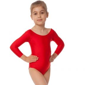 Купальник для танцев и гимнастики с длинным рукавом Lingo CO-2474 S-L красный