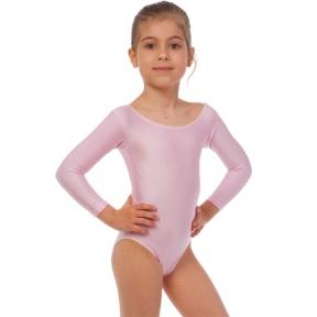 Купальник гимнастический с длинным рукавом Lingo CO-2475 размер S-L рост 110-154см розовый