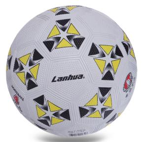 Мяч резиновый Футбольный LANHUA S014 №4 белый-желтый