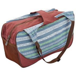 Сумка для фитнеса и йоги Yoga bag KINDFOLK FI-8366-3 (размер 19смх50х33см, полиэстер, хлопок, серый-синий)