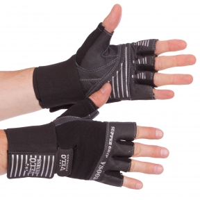 Перчатки для тяжелой атлетики кожаные VELO VL-8117 размер S-XL черный