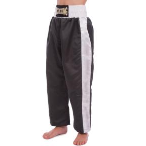 Штаны для кикбоксинга детские MATSA KICKBOXING MA-6731 (полиэстер, 6-14лет, рост 128-170см, черный-белая полоса)