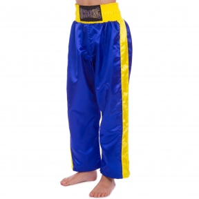 Штаны для кикбоксинга детские MATSA KICKBOXING MA-6732 (полиэстер, 6-14 лет, рост 122-152см, синий-желтая полоса)
