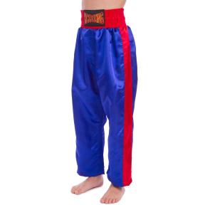 Штаны для кикбоксинга детские MATSA KICKBOXING MA-6733 (полиэстер, 6-14лет, рост 122-152см, синий-красная полоса)