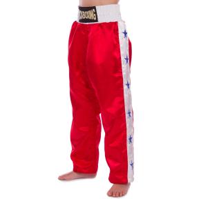Штаны для кикбоксинга детские MATSA KICKBOXING MA-6735 (полиэстер, 6-14лет, рост 122-152см, красный-белая полоса со звездами)