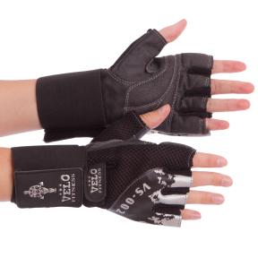 Перчатки для тяжелой атлетики кожаные VELO VL-8118 размер S-XL черный