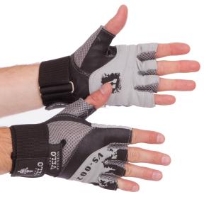 Перчатки для тяжелой атлетики кожаные VELO VL-8121 размер S-XL серый-черный