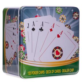 Покерный набор в металлической коробке-120 фишек IG-6893 (с номиналом,1 кол.карт)