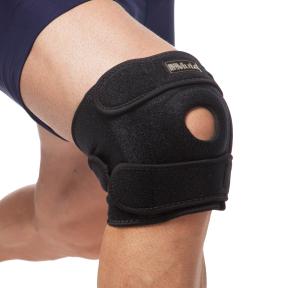 Наколенник (фиксатор коленного сустава) открывающийся с открытой колен.чашечкой (1шт) MUTE 9035 (полиамид, спандекс, р-р регулируемый, черный)
