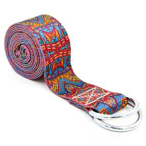 Ремень для йоги FI-6975-8 (полиэстер, р-р 183 x 3,8см, оранжевый-голубой, 1уп-1шт, цена за 1шт)