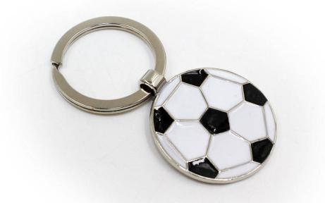 Брелок Мяч футбольный FB-4902 (металл хром, d-3,5см, цена за 1 шт.)