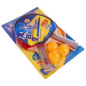 Набор для настольного тенниса 2 ракетки, 3 мяча Boli prince MT-9012 (древесина, резина, уп. блистер)